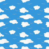 Paper clouds and gulls on blue sky — Stock Vector