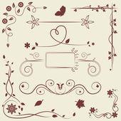Set of floral ornament elements — Stockvektor