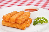 Deep-fried mozzarella cheese sticks — Stock Photo