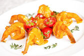 Tiger prawns with bisque sauce — Stock Photo