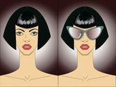 Women faces in sunglasses. Vector — Stock Vector