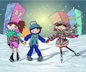 Three kids on the skating rink — Stock Vector