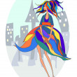 Sexy fashion girl in sketch style on a city-background. — Stock Vector
