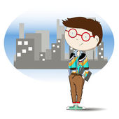 Young businessman on city background — Stock Vector