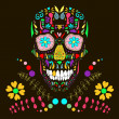 Skull with floral ornament 1.Vector illustration. — Stockvectorbeeld