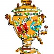 Постер, плакат: Russian colorful samovar vector sketch tea