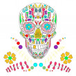 Skull with floral ornament 2.Vector illustration. — Vektorgrafik