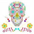 Skull with floral ornament 2.Vector illustration. — Stockvektor