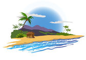 Tropical beach with house — Stock Vector
