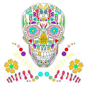 Skull with floral ornament 2.Vector illustration. — Stock Vector