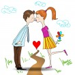 Boy and girl kissing — Stock Vector