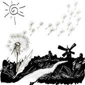 Wilde bloemen op de glade. vectorillustratie. — Stockvector