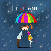 Boy and a girl under umbrella. — Stock Vector