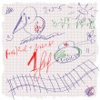 Freehand drawing school scetch on sheet of exercise book. Back to School. Set — Vector de stock #29841985