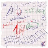 Freehand drawing school scetch on a sheet of exercise book. Back to School. Set — 图库矢量图片