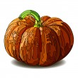 Stock Vector: Halloween Pumpkin isolated on white.
