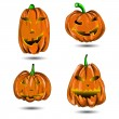 Stock Vector: Halloween Pumpkin set isolated on white. Scary Jack.
