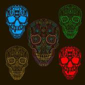Pattern with sugar skulls. Vector version. — Stock Vector