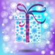 Christmas gift with winter vector background. — Vektorgrafik