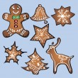 Gingerbread set with blue background. Vector — 图库矢量图片