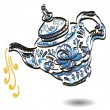 Teapot with floral gzhel design elements. — Stock Vector