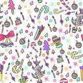 炫彩花纹与圣诞元素 — 图库矢量图片