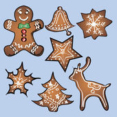 Gingerbread set with blue background. Vector — Stock Vector