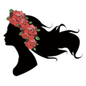 Beautiful girl silhouette with rose. — Stock Vector