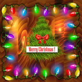 Vector Christmas background with garland. — Stock Vector