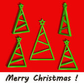 Stylized Christmas tree set with green star. — Stockvektor