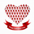 Stock Vector: Red paper heart Valentines day card.