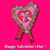 Rosa papper hjärtat alla hjärtans dag-kort. — Stockvektor