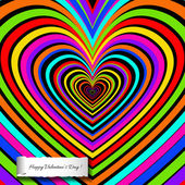 Rainbow heart background with decoration of love. — Vector de stock