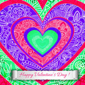 Colourful paper heart Valentines day card. — Stockvector