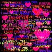Amor e coração texto sobre o fundo preto. — Vetorial Stock