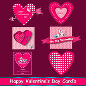 Happy valentines day cards set. — Stock Vector
