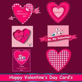 Happy valentines day cards set. — Vetorial Stock