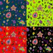 Seamless set multicolored flower pattern. — Vecteur