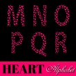 Alphabet of pink hearts vector illustration — Stock Vector