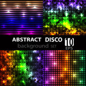 Abstract disco glowing set of background. — Vector de stock