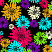Pattern with abstract flowers daisy — Vecteur