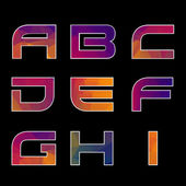 Trendy multicolored Geometric Alphabet. — Stock Vector