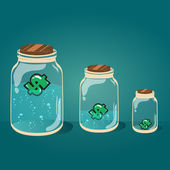 Glass jar with water and money vector EPS-10. — ストックベクタ