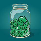 Glass jar with money vector EPS-10. — ストックベクタ
