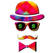 Vintage silhouette top hat and mustache — Stock Vector