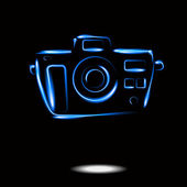 Photo camera neon icon isolate. Vector EPS — Stock Vector