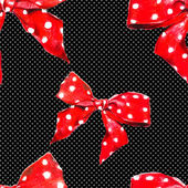 Red vector pattern bow with polka dot.  Vector. — Stock Vector