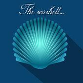 Sea scallop seashell blue icon. Vector. — Stock Vector