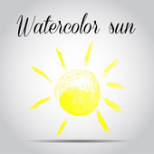 Watercolor sun on a white background — Stock Vector
