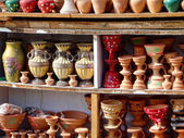 Pottery stall at an Egyptian market — Stock Photo